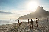 People playing altinha football on Ipanema beach, Rio de Janeiro, Brazil, South America
