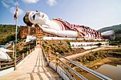 Win Sein Taw Ya 180m Reclining Buddha, the largest Buddha Image in the world, Mudon, Mawlamyine, Mon State, Myanmar Burma, Asia
