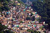 View of the Santa Marta favela slum community showing the funicular railway, Rio de Janeiro, Brazil, South America