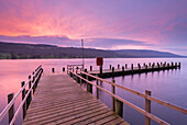 Jetty on Coniston Water at sunrise, Lake District National Park, Cumbria, England, United Kingdom, Europe