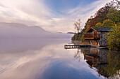Duke of Portland Boathouse on misty Ullswater in autumn, Lake District, Cumbria, England, United Kingdom, Europe