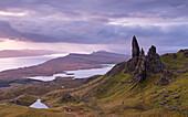 Atmospheric sunrise above the Old Man of Storr on the Isle of Skye, Inner Hebrides, Scotland, United Kingdom, Europe
