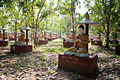 Maha Bodhi Ta Htaung, 1000 great Bo trees planted, each with a Buddha statue next to it, Monywa township, Sagaing Division, Myanmar Burma, Asia