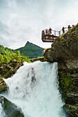 Overlook on small waterfall in Geiranger, Norway, Scandinavia, Europe