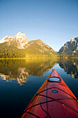 Kayaking on Jackson Lake. Grand Teton NP, WY