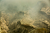Eroded volcanic landforms of Kawah Ijen volcano, Banyuwangi, Java, Indonesia