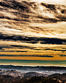 A colorful sky looking West from the Mayacamas Mountains in Sonoma County. This area is a part of the Audubon Canyon Ranch's newest sanctuary, the Modini Mayacamas Preserves. The preserves total 3, 370 acres and is located above Alexander Valley near Heal
