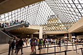 Interior view of the Louvre museum, Inside the glass pyramid, Paris, France, Europe
