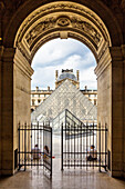 Louvre museum with inner courtyard and glass pyramid, Paris, France, Europe