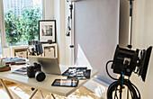Desk in photography studio