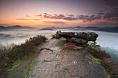 Prominent rock formations in Palatinate Foret, sunrise over the Geierstein near Lug, Palatinate Forest, Rhineland-Palatinate, Germany