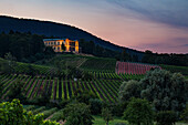 Illuminated Villa Ludwigshoehe in the evening, Edenkoben, Southern wine route, Rhineland-Palatinate, Germany