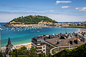 la concha bay and beach, san sebastian, donostia, basque country, spain