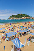 la concha beach, mount urgull, san sebastian, donostia, basque country, spain