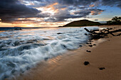sunset over the sandy stretch of big beach, makena, kihei, maui, hawaii, united states, usa