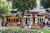 crepe houses and cafes on the vegetable market square, saint-malo (35), france