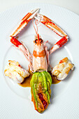stuffed zucchini flower and grilled prawns, recipe by laurent clement, cookbook of local dishes from the eure-et-loir (28), france