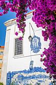 azulejo miradouro de santa luzia, on a house facade, the old quarter of alfama, lisbon, portugal