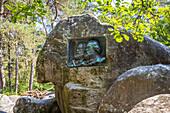 stele of the painters theodore rousseau and jean francois millet, discovery circuit of the barbizon school painters, barbizon, (77) seine et marne, ile de france, france
