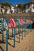 canvas beach huts, beach of saint jean de luz, basque country, (64) pyrenees atlantiques, aquitaine