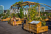 living roof, urban farming takes up residence for the first time on the roof terrace of the cite de la mode et du design. conceived by the vergers urbains and the babylone collective, this creation is meant to be a laboratory of nature in the city. the ab