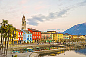 Colourful buildings along the waterfront of Lake Maggiore Ascona, Ticino, Switzerland