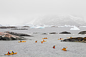 Tourists sea kayaking around Pleneau Island, Antarctic Peninsula, Antarctica