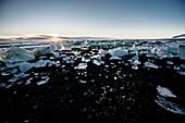 Glacier lagoon with growlers, Joekulsarlon, Ice, Cold, Winter, Vatnajoekull Glacier, Iceland