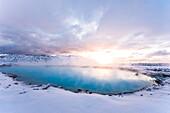 Blue Lagoon at sunset, Close to Reykjavik, Geothermal Hot Spring in Winter, Reykjavik, Icelan