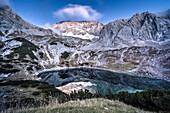 Drachensee beneath the Coburger Hut, Mieminger Range, Zugspitz area, Alps, Tyrol, Austria