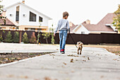 Rear view of boy walking with dog on footpath