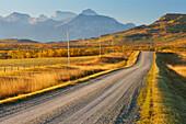 Country road through a mountainous landscape, near Twin Butte, Alberta, Canada, North America
