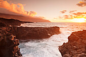 Lava coast of Las Puntas at sunset, El Golfo, biosphere reserve, El Hierro, Canary Islands, Spain, Atlantic, Europe