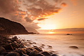 Coast near Los Llanillos at sunset, El Golfo Valley, UNESCO biosphere reserve, El Hierro, Canary Islands, Spain, Atlantic, Europe