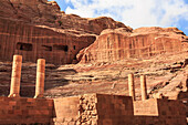 Theatre carved into the mountainside, with stage wall and columns, Petra, UNESCO World Heritage Site, Jordan, Middle East