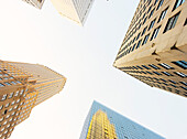 Looking up through New York skyscrapers, New York, United States of America, North America