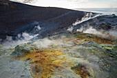 Sulphur and fumarole smoke on volcano Gran crater, Vulcano Island, Aeolian Islands, UNESCO World Heritage Site, north of Sicily, Italy, Mediterranean, Europe