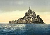 East coast at High Water, Mont Saint-Michel, France, Photochrome Print, circa 1901