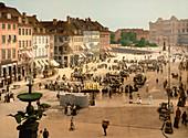 Hochbrucke Square, Copenhagen, Denmark, Photochrome Print, circa 1901