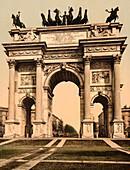 Arch of Peace, Milan, Italy, Photochrome Print, circa 1901