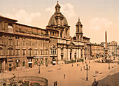 Piazza Navona, Rome, Italy, Photochrome Print, circa 1901