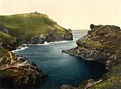 Entrance to Harbor, Boscastle, Cornwall, England, Photochrome Print, circa 1901