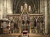 Cathedral Choir Screen, Hereford, England, Photochrome Print, circa 1901