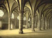 Knights' Hall, Mont St. Michel, France, Photochrome Print, circa 1901
