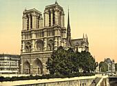 Notre Dame, Paris, France, Photochrome Print, circa 1901