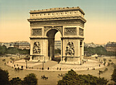 Arc de Triomphe de l'Etoile, Paris, France, Photochrome Print, circa 1901