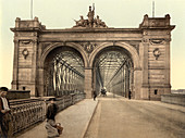 Rhine Bridge, Mannheim, Germany, Photochrome Print, circa 1901
