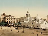 Government Place and El Jedid Mosque, Algiers, Algeria, Photochrome Print, circa 1901