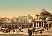 Plaza and Church of San Francesco di Paola, Naples, Italy, Photochrome Print, circa 1901