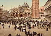 Concert, St. Mark's Square, Venice, Italy, Photochrome Print, circa 1901